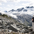 Stock Photo: Explorer in Glacier National Park