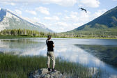Female overlooking Vermilion Lakes — Stock Photo