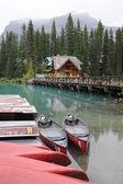 Canoes on Emerald Lake — Stock Photo
