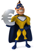 Superhero with a euro — Stock Photo