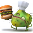 Germ and hamburger - Stock Photo