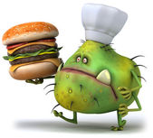 Germ and hamburger — Stock Photo