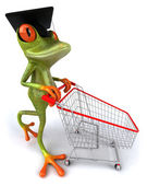Master frog with a shopping cart — Stock Photo