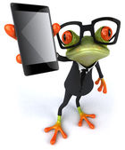 Business frog with phone — Stock Photo