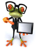 Business frog with computer — Stock Photo