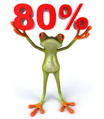 A frog with 80 percent sign — Stock Photo