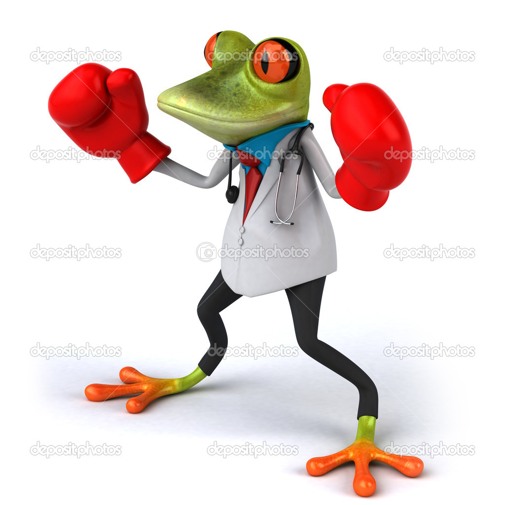 Frog doctor with boxing gloves 3d  Stock Photo #8526163