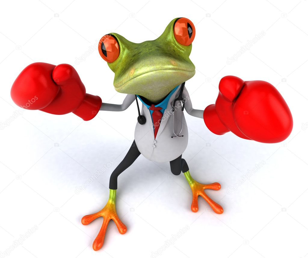Frog doctor with boxing gloves 3d — Stock Photo #8526175