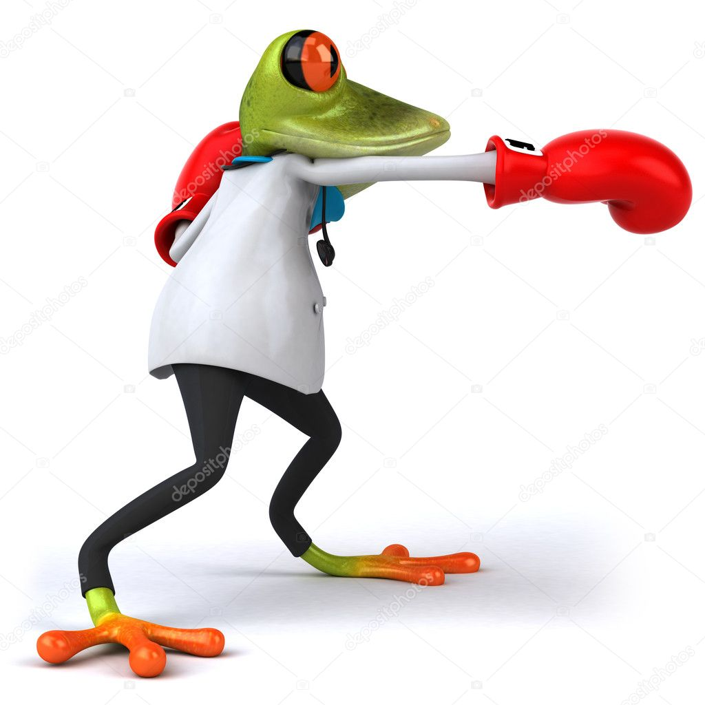 Frog doctor with boxing gloves 3d — Stock Photo #8526189