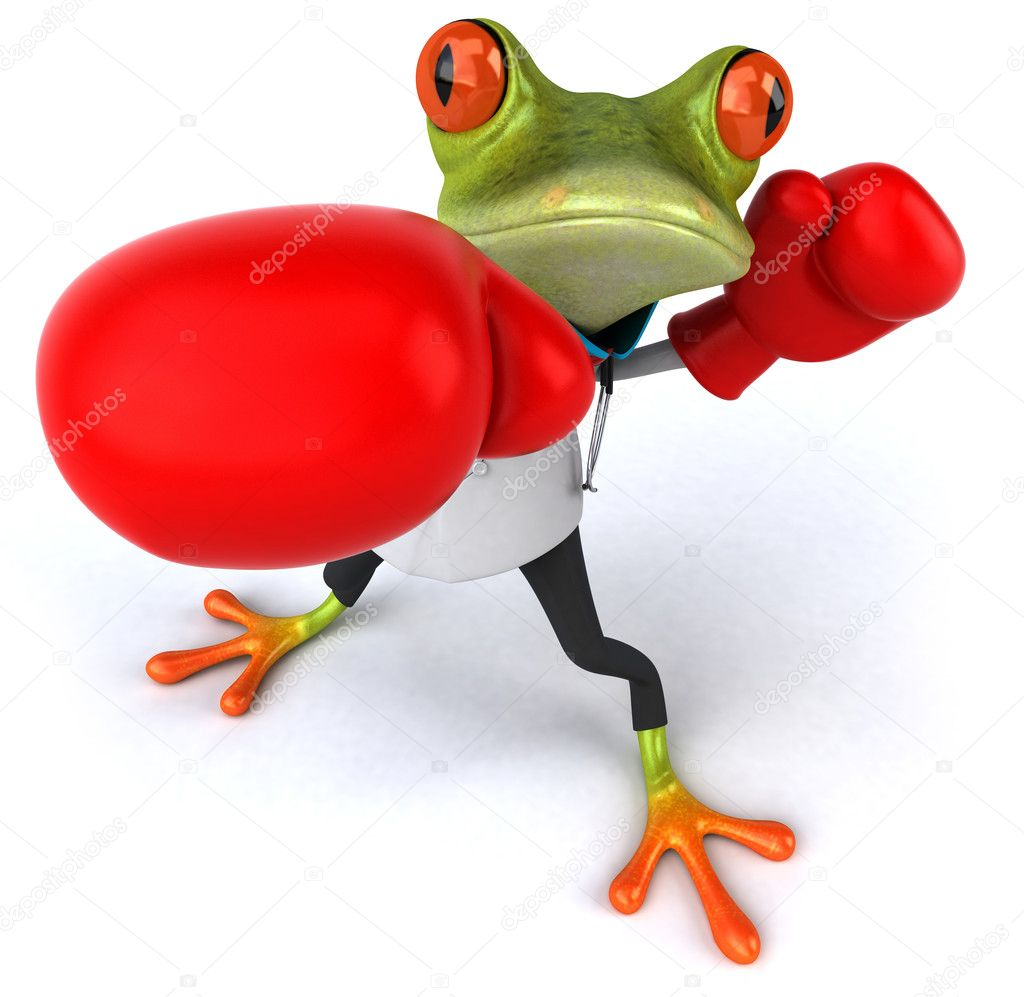 Frog doctor with boxing gloves 3d — Stock Photo #8526197