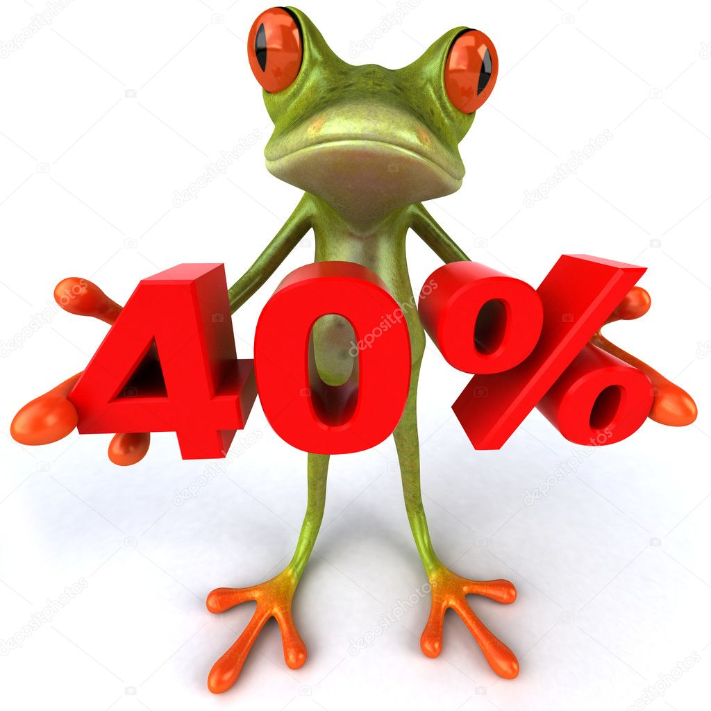 Frog offering discount 3d  Stock Photo #8526248