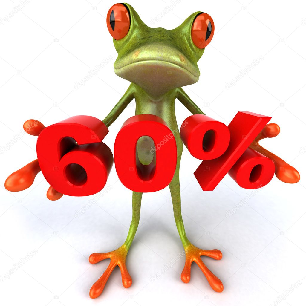 Frog offering discount 3d — Stock Photo #8526254