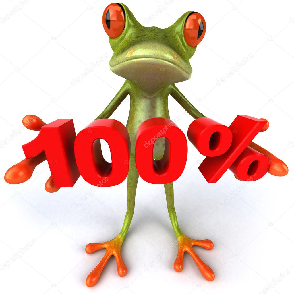Frog offering discount 3d — Stock Photo #8526276