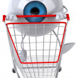 Stock Photo: Eye with a shopping cart 3d
