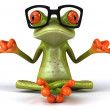Frog with glasses meditating 3d - Stock Photo