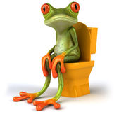 Kikker zitten in wc 3d — Stockfoto