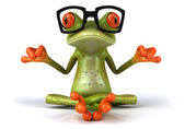 Frog with glasses meditating 3d — Stock Photo