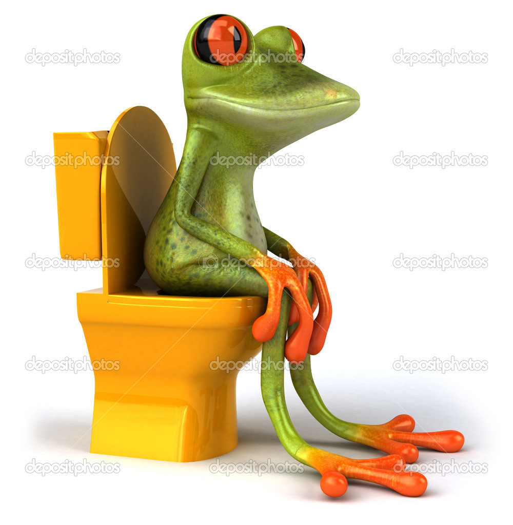 Frog sitting in WC 3d — Stock Photo #8596845