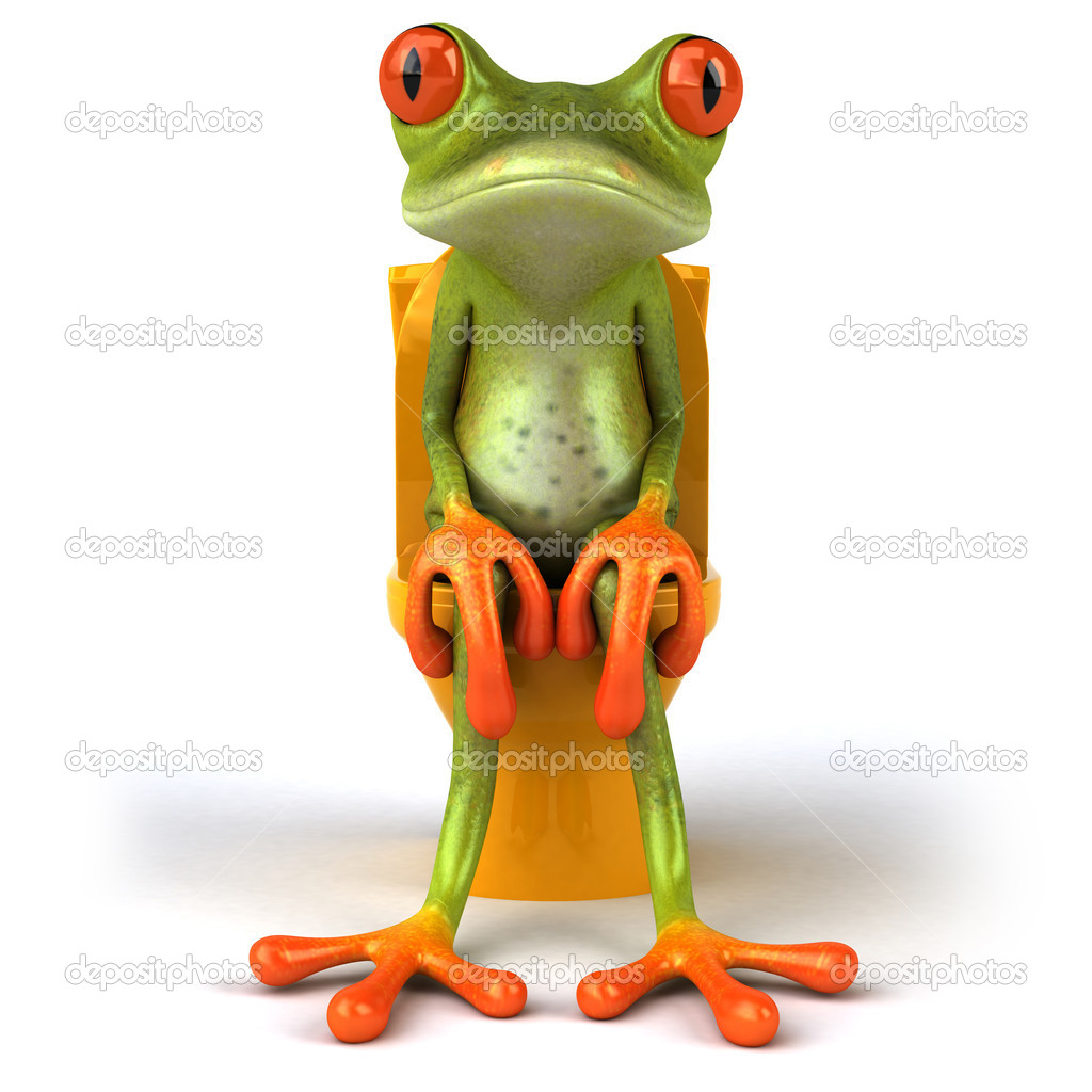 Frog sitting in WC 3d — Stock Photo #8596852