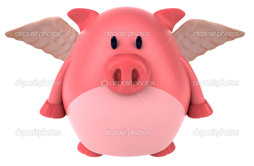Pig with wings 3d — Stock Photo #8608477