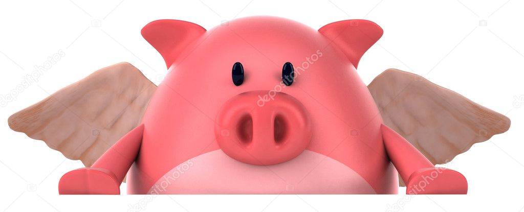 Pig with wings 3d — Stock Photo #8608482