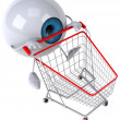 Eye with a shopping cart 3d — Stockfoto