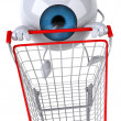 Stock Photo: Eye with shopping cart 3d