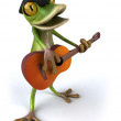 French frog playing guitar 3d — Stock Photo #8685598