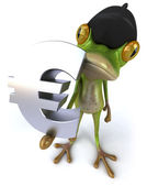 French frog with euro sign 3d — Stock Photo