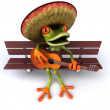 Frog in sombrero playing guitar 3d — Stock Photo