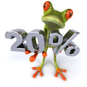 Frog offering discount — Stockfoto