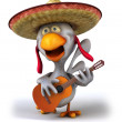 Fun chicken with guitar 3d — Stock Photo #8824111