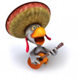 Fun chicken with guitar 3d — Stock Photo