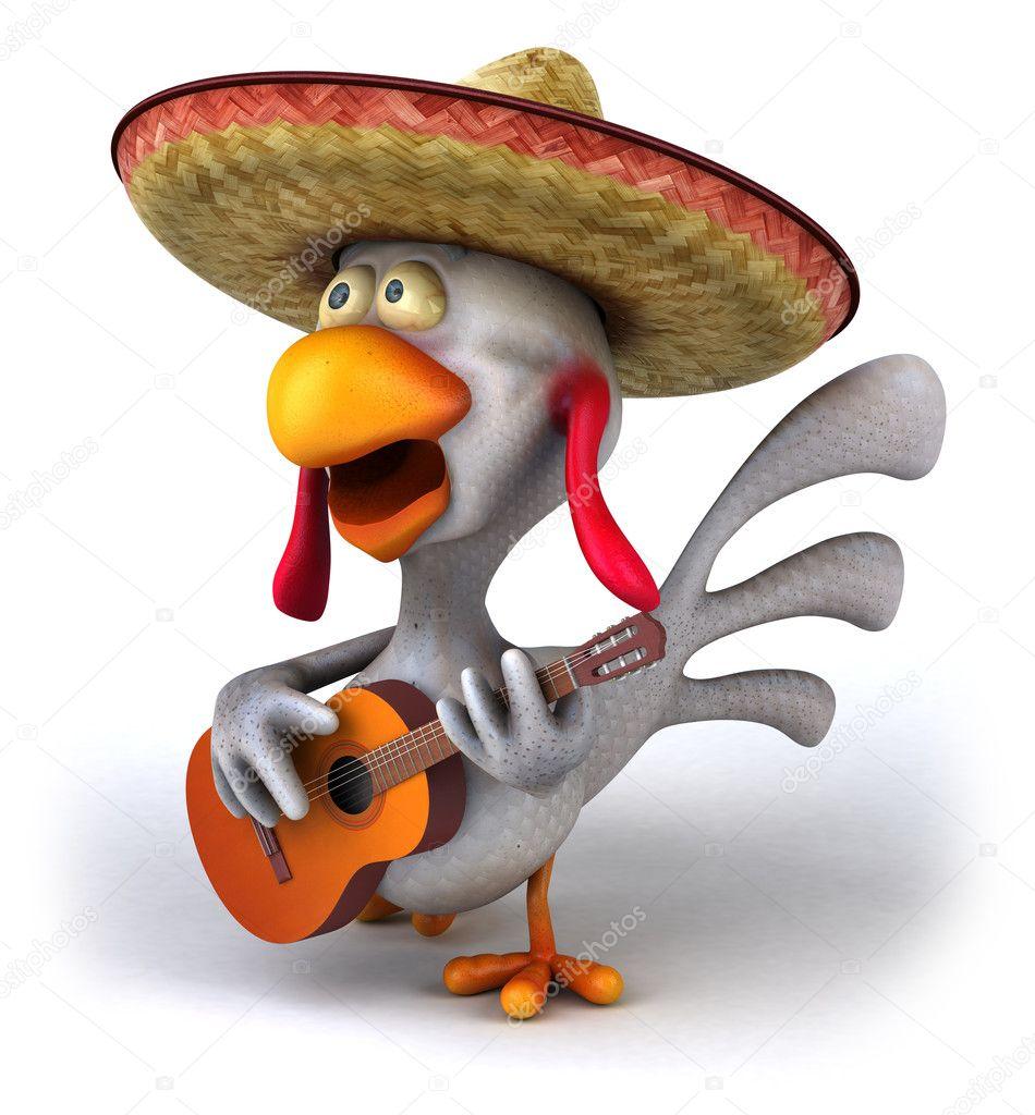 Pollo di divertimento con chitarra d — foto stock julos
