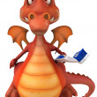 Stock Photo: red dragon with toothbrush 3d