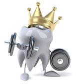 Tooth with dumbbells — Stock Photo