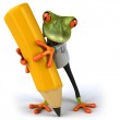 Doctor frog with pencil 3d — Stock Photo