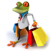 Doctor frog goes shopping 3d — Stock Photo