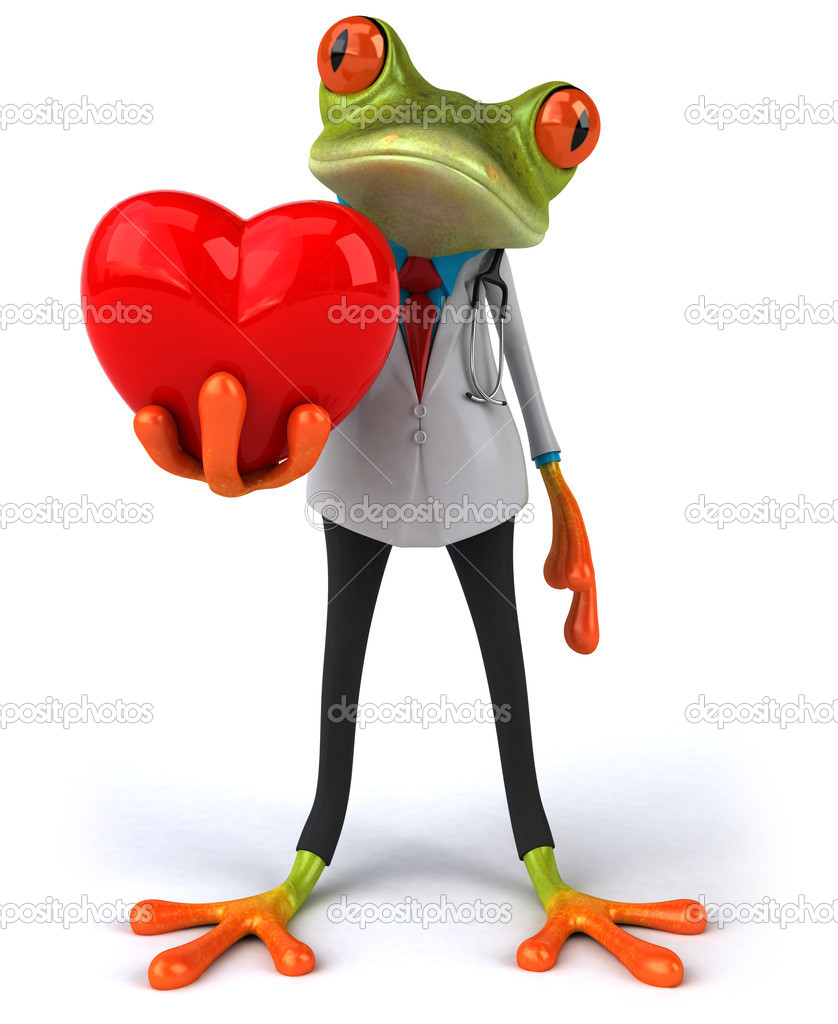 Doctor frog with heart 3d  Stock Photo #8951149