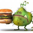 Germ with hamburger - Stock Photo
