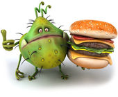 Germ with hamburger — Stock Photo