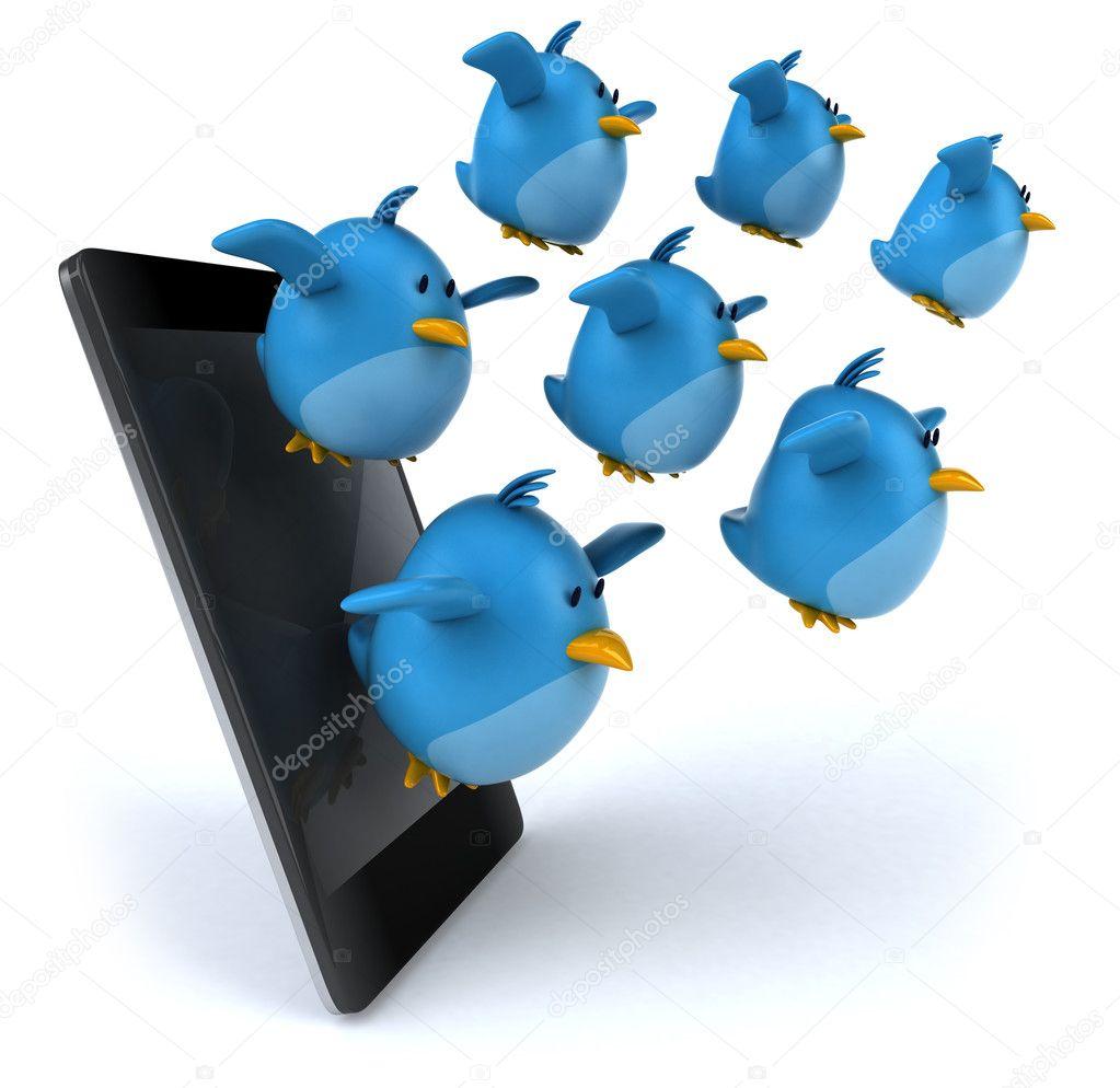 Cartoon blue bird with cartoon blue bird