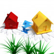 Yellow, red and blue houses on a big white flowers. — Stock Photo