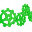 Green gears isolated on white background. — Stock Photo
