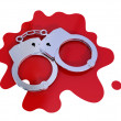Iron handcuff on bloody stain. — Stock Photo