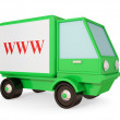 Green truck with red www symbol. — Stock Photo #8432910