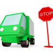 Green truck with STOP sign. — Stock Photo #8432911