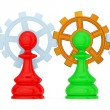 Pawns merged with gears — Stock Photo