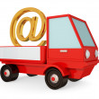 Red truck with golden e-mail sign. — Stock Photo