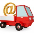 Stock Photo: Red truck with golden e-mail sign.
